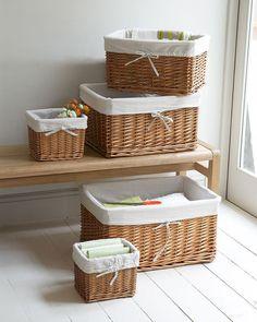 Lined Rattan Wicker Basket Lined Wicker Baskets, Cane Baskets, Rattan Basket, Diy Storage Boxes, Storage Baskets, Laundry Storage, Bathroom Storage, Clothes Storage, Laundry Room