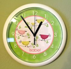 Penelope Tweet Tweet Personalized Bird Baby nursery 10-inch Wall Clock - Choose Green, Pink or Purple on Etsy, $22.95