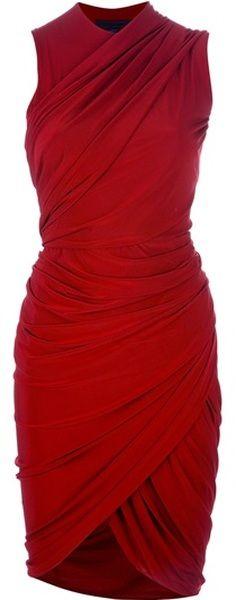 Alexander Wang Asymmetric Draped Dress in Red