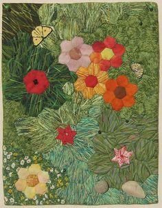 mini hexagon flower garden by Marliese Krueger at Cotton & Color What a lovely novel approach X