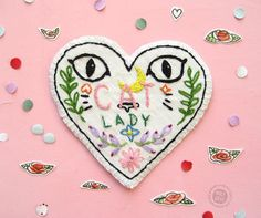 Embroidered Patches, Pins and Stickers, by Polina Perova on Etsy Cat Lover Gifts, Cat Lovers, Cross Stitch Embroidery, Embroidery Patterns, Denim Jacket Patches, Denim Jackets, Feminist Patch, Felt Gifts, Floral Patches