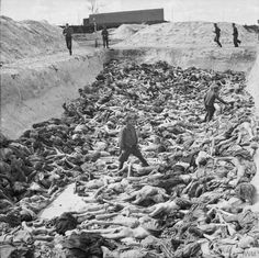 Dr Fritz Klein the camp doctor standing in a mass grave at Belsen. He worked in Auschwitz-Birkenau for a year from December 1943 where he assisted in the selection of prisoners to be sent to the gas chambers. After a brief period at Neungamme Klein moved to Belsen in January 1945. [800x798]
