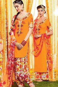 Yellow & MultiColor Cotton Satin Print UnStitch Punjabi Suit