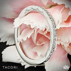 Platinum Tacori Sculpted Crescent Half Eternity Diamond Wedding Ring