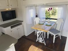 for sale on the Tiny House Marketplace. Would you love an inviting home that Gives You The Power to Travel Trailer Decor, Tiny House Appliances, Inviting Home, Tiny Houses For Sale, House On Wheels, Rv Living, New Homes, Tiny Homes, Shabby Chic