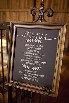 framed chalkboard menu sign at wedding reception