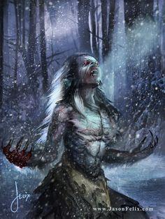 The Wendigo is a Native American myth, primarily with the Algonquin-speaking… Female Werewolves, Vampires And Werewolves, Fantasy Rpg, Dark Fantasy Art, Magical Creatures, Fantasy Creatures, Vampire Stories, Werewolf Art, Classic Monsters