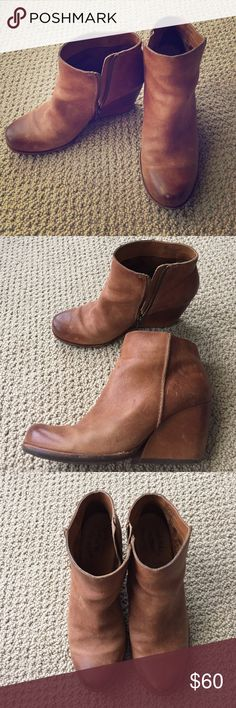 """Kork-ease brown leather booties size 8 Really cute cognac colored booties with a fun almost-wedge heel. These are the most comfortable boots EVER. Real, super soft leather in worn condition, but came with a """"worn-in"""" sort of look brand new. Kork-ease Shoes Ankle Boots & Booties"""