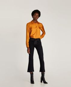 e3c6cf23b Image 1 of THE BOOTCUT JEANS WITH LACE-UP FLY from Zara Zara Fashion,