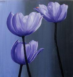 Purple Tulips acrylic painting