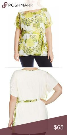 JM Collection Butterfly Sleeve Top Ruffle sleeves 94% polyester, 6% Spandex JM Collection Tops