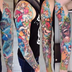 Nintendo sleeve by david bruehl just tattoos mario tattoo, g 90s Tattoos, Disney Sleeve Tattoos, Gamer Tattoos, Cartoon Tattoos, Disney Tattoos, Body Art Tattoos, Nintendo Tattoo, Gaming Tattoo, Unique Tattoos
