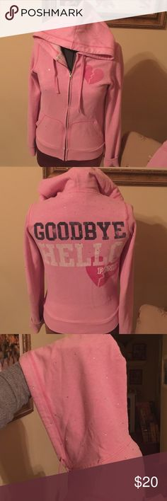 PINK Victoria Secret hoodie with rhinestones Hello Goodbye Heartbreaker Pink Hoodie with rhinestones on top half and hood. I love this hoodie! Pre loved with lot of life left! Check out the matching pants in my closet. Pet friendly home. Offers considered. PINK Victoria's Secret Tops Sweatshirts & Hoodies