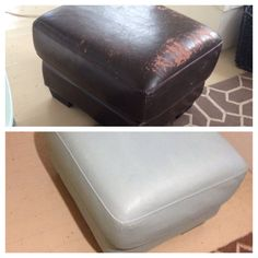 Annie Sloan chalk paint on a peeling faux leather ottoman.