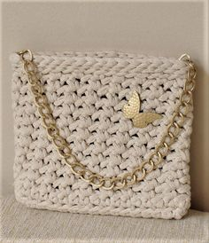 Bridal ivory purse Crochet bag with chain Small evening bag