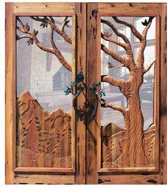Hand carved tree door