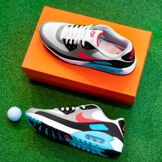 NEW IN🔥🔥🔥 Nike Air Max 90 G 👟 in White, Hot Punch, Black & Aurora Green🏌🏼♂. Grab your pair now at #eGolfMegastore or tap the image to shop now⛳. ___ #Nike #NikeGolf #AirMax90G #NikeHotPunch #golfkicks #NikeAirMax #golfshoes #nikeshoes Air Max 90, Nike Air Max, Air Max Sneakers, Sneakers Nike, Nike Golf, Golf Shoes, South Beach, Aqua Blue, Pink Color