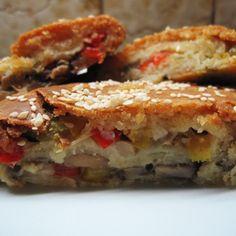 Mushroom pie with ball peppers- Manitaropita me piperies - Μανιταρόπιτα με πιπεριές