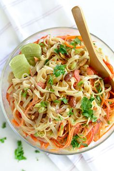 Almond Breeze Almondmilk Coconutmilk is my secret to a lower calorie option to canned coconut milk for dressing this flavorful, Thai-inspired noodle salad.