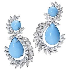 Harry Winston - Turquoise & Diamond One of Kind Earrings! STUNNERS!
