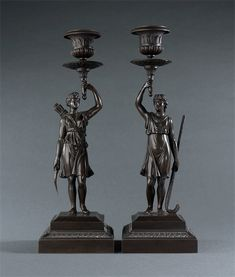 French Empire Patinated Diana and Endymion Candlesticks. Candelabra, Candlesticks, French Empire, Diana, Lamps, Table Lamp, Decor, Candle Holders, Lightbulbs