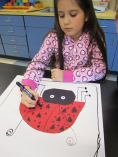 1st lady bugs. Use smaller paper with googly eyes and pipe cleaners.