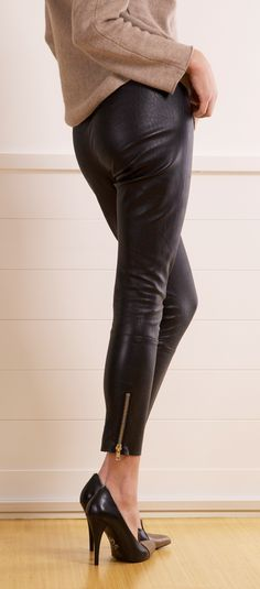 Leather Pants + Zipper Accent