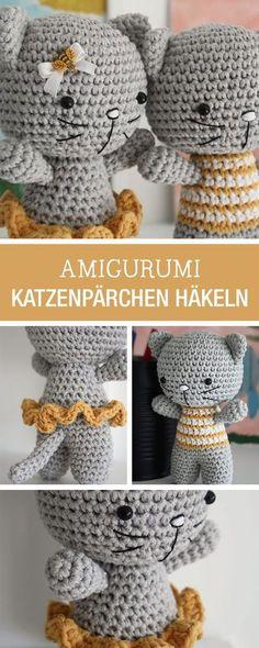 DIY-Anleitung: verliebtes Katzenpärchen als Amigurumi Figuren selbst häkeln / DIY tutorial: crocheting two cats in love as amigurumi figues via DaWanda.com