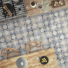The Alberta ceramic floor and wall tile draws heavy influence from the streets of Spain. These cream glazed tiles have four squares separated by scored grout lines. Each square has a framing blue floral design. The realistic distressed features convince that this tile is truly aged. Designed by interior architect and furniture designer Francisco Segarra, this tile is a true reflection of vintage industrial design. You'll love the rustic charm and textured finishes that give this tile an o...