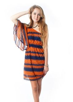 Orange/Blue Crochet Game Day Dress