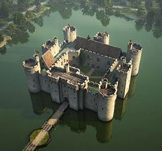Bodiam Castle,  East Sussex, England...    http://www.castlesandmanorhouses.com/photos.htm    ...     Bodiam Castle is a 14th-century moated castle. It was built in 1385 by Sir Edward Dalyngrigge, a former knight of Edward III, with the permission of Richard II, to defend the area against French invasion during the Hundred Years' War.  The castle is  a Grade I listed building. It has been owned by The National Trust since 1925, when it was donated by Lord Curzon on his death.