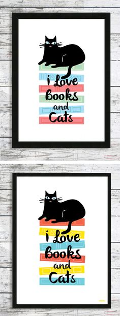 Le Cat Club I love Books and Cats - cat print in two colours #cat #catprint