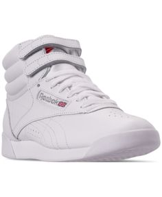 07362d7224ba22 Reebok Women s Freestyle High Top Casual Sneakers from Finish Line - White  7.5 Reebok Freestyle