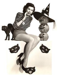 Ann Miller festeja la Noche de Brujas en los años 50
