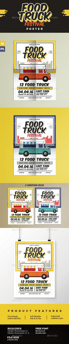 Food Truck Festival Poster Template PSD. Download here…