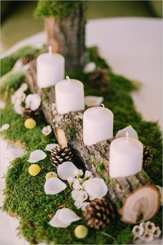 wedding winter wedding decorations candlestick from a wooden branch with white candles surrounded by pine cones on a green moss muse books via Christmas Wedding Centerpieces, Winter Wedding Decorations, Rustic Centerpieces, Christmas Decorations, Moss Wedding Decor, Centerpiece Ideas, Moss Centerpiece Wedding, Baptism Table Decorations, Pinecone Centerpiece