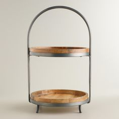 Wood and Metal 2-Tier Serving Stand | World Market
