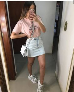 Cool Outfits, Fashion Outfits, Tumblr Outfits, How To Make Hair, Denim Skirt, Fashion Looks, Poses, Skirts, Instagram
