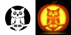 Owl Pumpkin Stencil, Pumkin Carving Stencils, Owl Pumpkin Carving, Halloween Pumpkin Stencils, Halloween Pumpkin Designs, Pumpkin Topiary, Pumpkin Crafts, Halloween Quotes, Happy Halloween