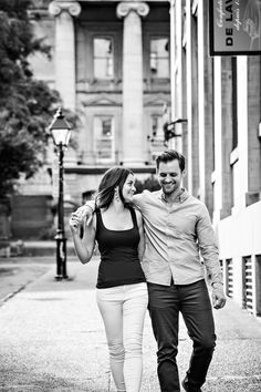 Laughing couple in old montreal. Engagement shoot! #launi