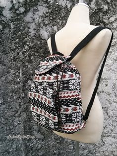 f6b9257197025 Boho Backpack Ethnic Aztec Print Tribal Hippies Woven Fabric Hobo Rucksack  Hipster Gypsy Nepali Patterns Bags Purse Native snow size Small