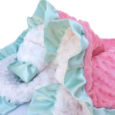 Stroller Size Coral and Ivory Minky Baby Blanket With by babyboos