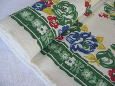 Vintage Linen Toweling  Flowers on Green  Yardage by catnapcottage
