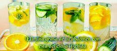 BEBIDA QUE QUEMA LA GRASA QUE TIENES EN EL ESTOMAGO EN UNA FORMA FACIL Y ECONOMICA. En un litro de agua coloca un pepino mediano-rebanado jugo de dos limones-rebanadas de 1 limón-rebdas de1naranja. O pepino-menta y limon- 1/2 hoja de aloe vera pelada y en rebanadas. Ademas de ser fresco , limpia y desengrasa.