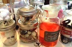 DIY Halloween Spooky Lab Jars Filled