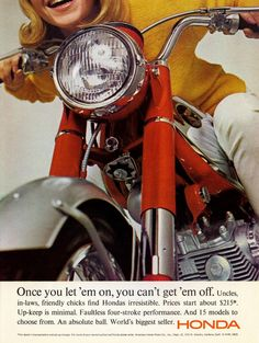 Then let her on. For that price you can easily buy a second bike, in black. - Vintage Honda Motorcycle Ad - Retro Motorcycles
