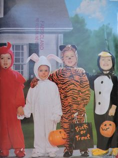 Penguin Bunny Rabbit Devil Tiger Trick or Treat Halloween Toddler Costume Butterick 4289 Pattern Toddlers Sizes 1 through 4 Witch Costumes, Toddler Halloween Costumes, Halloween Treats, Halloween Halloween, Halloween Makeup, Vintage Witch, Vintage Halloween, Devil Costume, Halloween Patterns