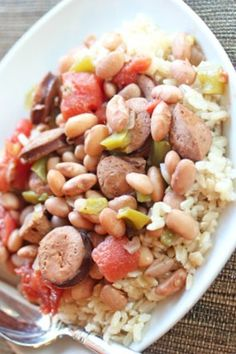 Rice and Pinto Beans with Andouille Sausage | 5DollarDinners.com