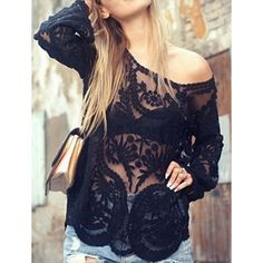 $11.42 Stylish Scoop Neck Embroidery See-Through Long Sleeve Cover-Up For Women