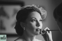 The bride getting ready. Classic black and white. Irish Marquee wedding photographed by Couple Photography.